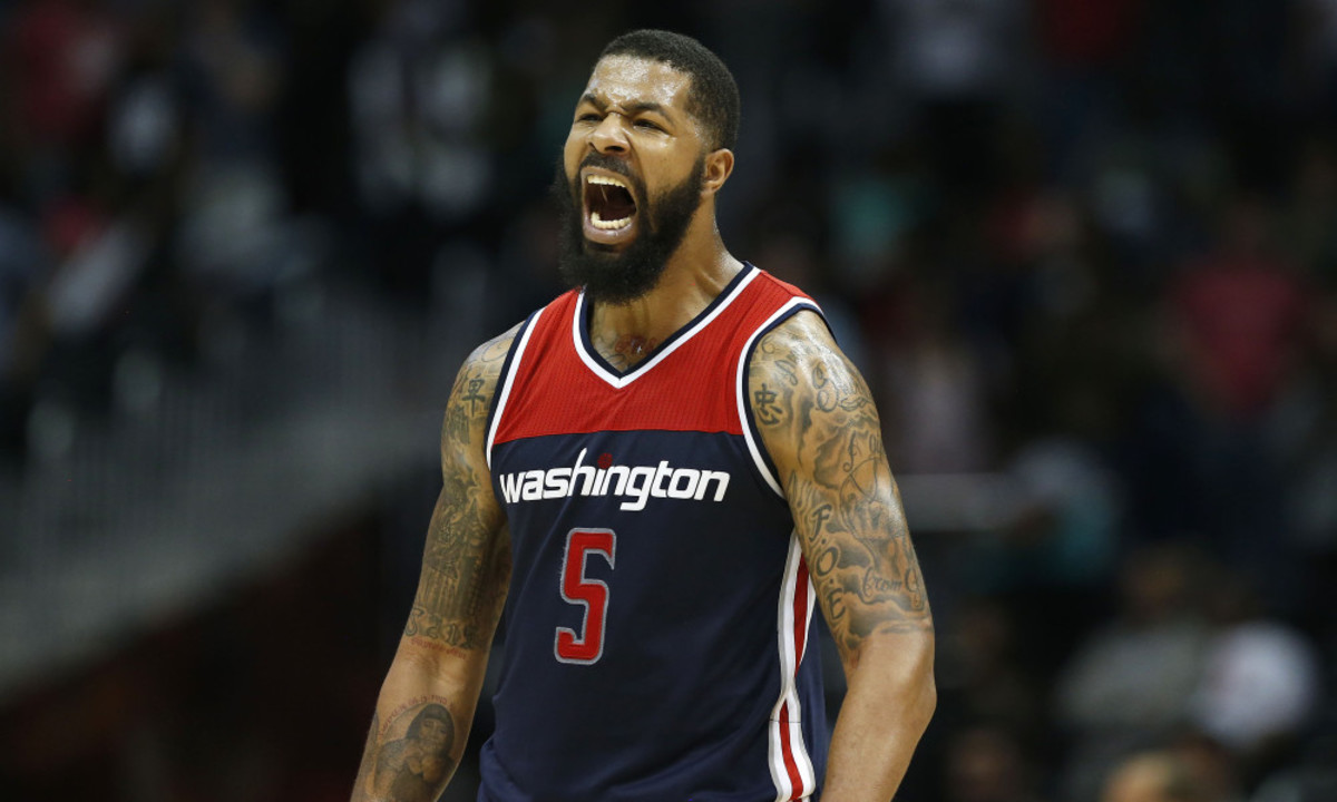 ATLANTA, GA - APRIL 28:  Forward Markieff Morris #5 of the Washington Wizards celebrates during Game Six of the Eastern Conference Quarterfinals against the Atlanta Hawks at Philips Arena on April 28, 2017 in Atlanta, Georgia. NOTE TO USER: User expressly acknowledges and agrees that, by downloading and or using this photograph, User is consenting to the terms and conditions of the Getty Images License Agreement. (Photo by Mike Zarrilli/Getty Images) ORG XMIT: 700034588 ORIG FILE ID: 674625010