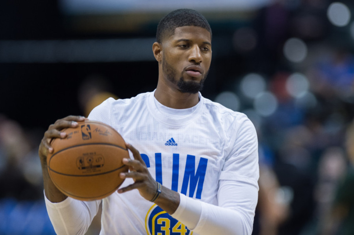 November 4, 2015: Indiana Pacers forward Paul George (13) warms up before during a NBA game between the Indiana Pacers and Boston Celtics at Bankers Life Fieldhouse in Indianapolis, IN. (Photo by Zach Bolinger/Icon Sportswire)