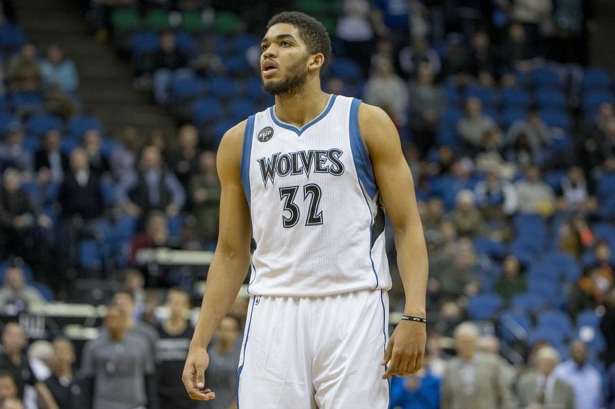 Feb 10, 2016; Minneapolis, MN, USA; Minnesota Timberwolves center Karl-Anthony Towns (32) looks on during the second half against the Toronto Raptors at Target Center. The Timberwolves won 117-112. Mandatory Credit: Jesse Johnson-USA TODAY Sports