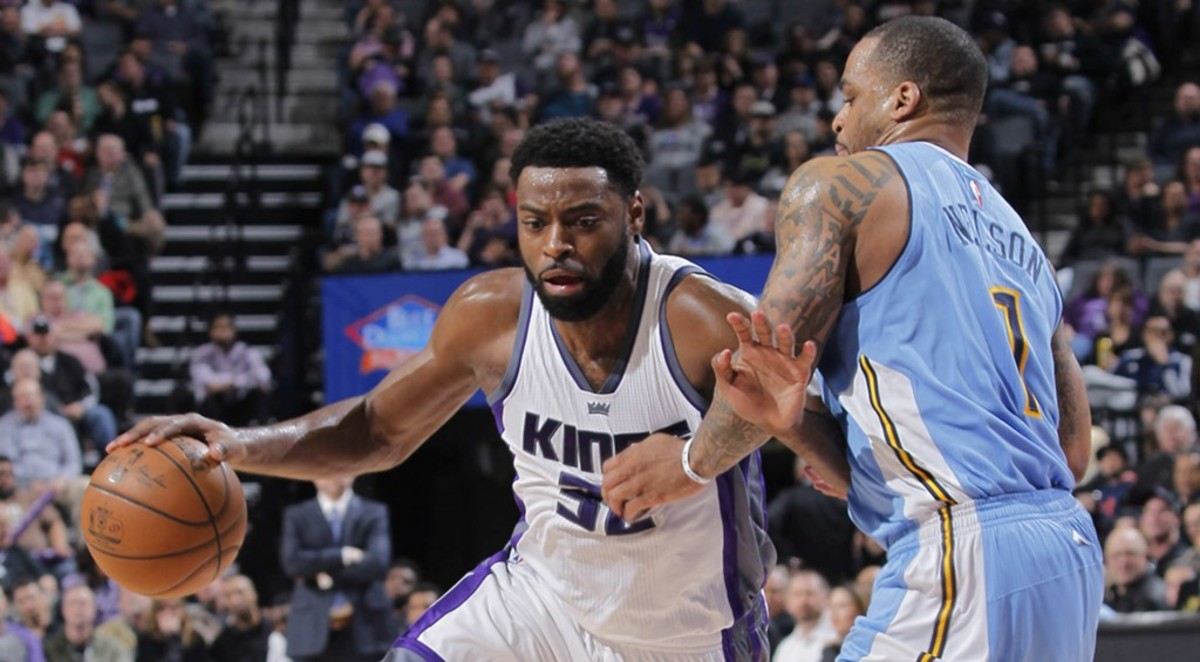 SACRAMENTO, CA - February 23:   at Golden 1 Center on February 23, 2017 in Sacramento, California. NOTE TO USER: User expressly acknowledges and agrees that, by downloading and or using this photograph, User is consenting to the terms and conditions of the Getty Images Agreement. Mandatory Copyright Notice: Copyright 2017 NBAE (Photo by Rocky Widner/NBAE via Getty Images)