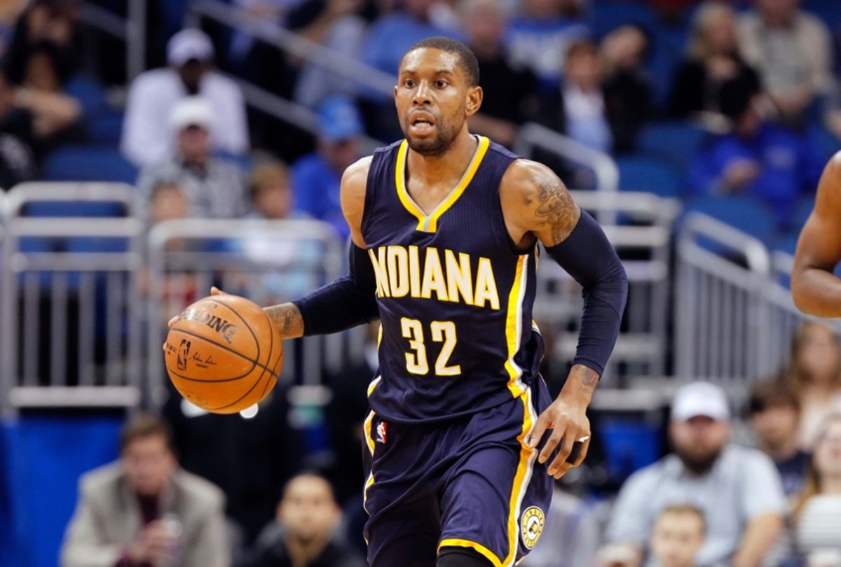 Jan 25, 2015; Orlando, FL, USA; Indiana Pacers guard C.J. Watson (32) drives to the basket against the Orlando Magic during the second half at Amway Center. Indiana Pacers defeated the Orlando Magic 106-99. Mandatory Credit: Kim Klement-USA TODAY Sports