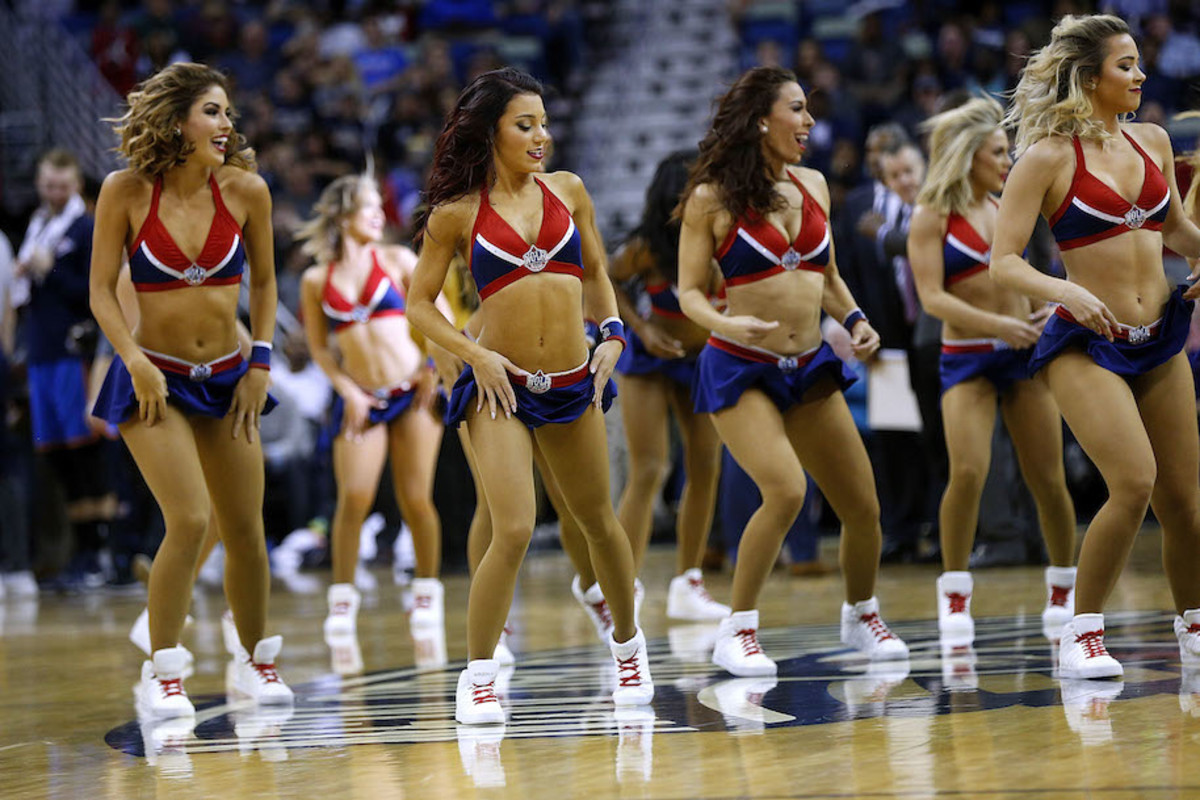 NEW ORLEANS, LA - DECEMBER 21:  New Orleans Pelicans cheerleaders perform during the first half of a game against the Oklahoma City Thunder at the Smoothie King Center on December 21, 2016 in New Orleans, Louisiana. NOTE TO USER: User expressly acknowledges and agrees that, by downloading and or using this photograph, User is consenting to the terms and conditions of the Getty Images License Agreement.  (Photo by Jonathan Bachman/Getty Images)