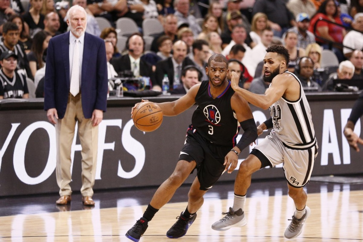 Apr 8, 2017; San Antonio, TX, USA; LA Clippers point guard Chris Paul (3) dribbles the ball as San Antonio Spurs point guard Patty Mills (8) defends during the second half at AT&T Center. Mandatory Credit: Soobum Im-USA TODAY Sports
