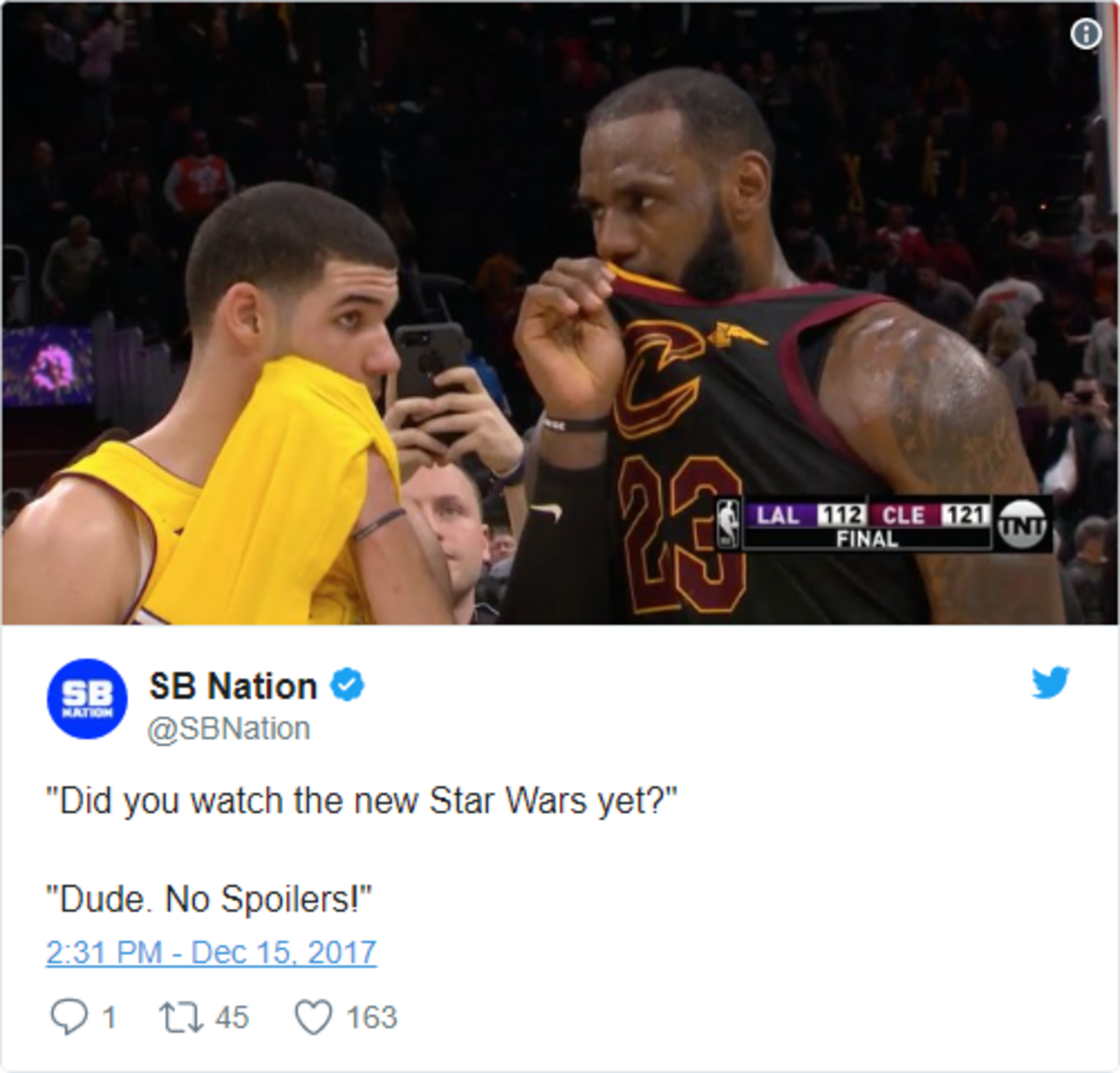 LeBron James' postgame message to Lonzo Ball uncovered